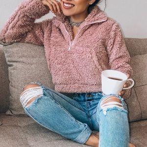 Blush teddy sweater